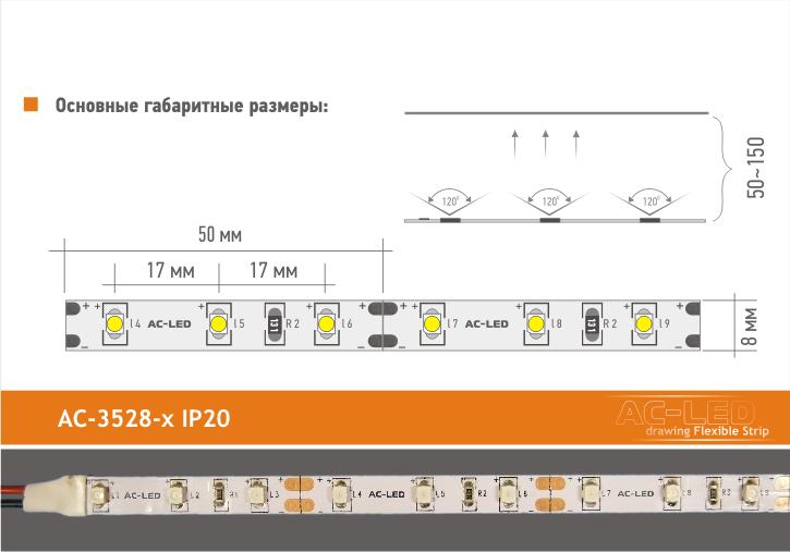 Основные размеры ленты серии AC-3528x IP20