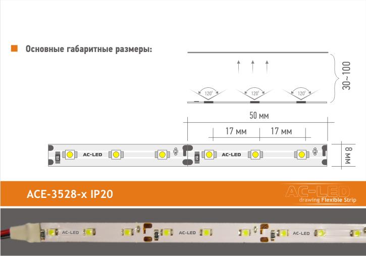 Основные размеры ленты серии ACE-3528x IP20